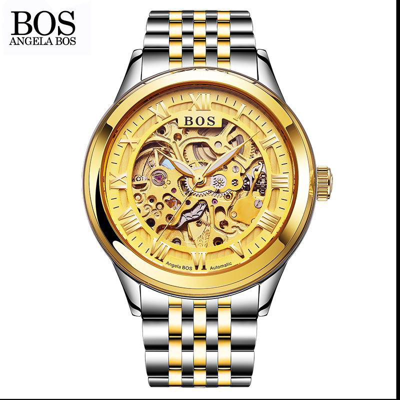 ANGELA BOS Luxury Gold font b Watch b font Men Mechanical Automatic Stainless Steel Skeleton Waterproof
