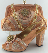 African design Italian shoes and bag set with rhinestone high heels ladies party shoes in ME3331