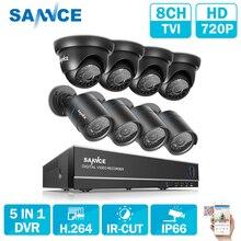 SANNCE 8CH güvenlik kamerası Sistemi AHD CCTV DVR 8 ADET 1MP IR Açık Güvenlik Kamera 720 P 1200 TVL Kamera Bullet dome Gözetim KITI
