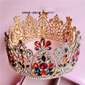 Novia de estilo barroco de color oro accesorios de la joyería de la boda rhinestone tiara plato hecho con gran corona circular