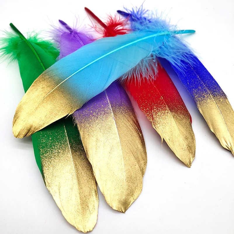 10 개/몫 스프레이 골드 화이트 거 위 깃털 16-20 cm 공예 모자 embellishments 꽃꽂이 소재 액세서리 diy 깃털