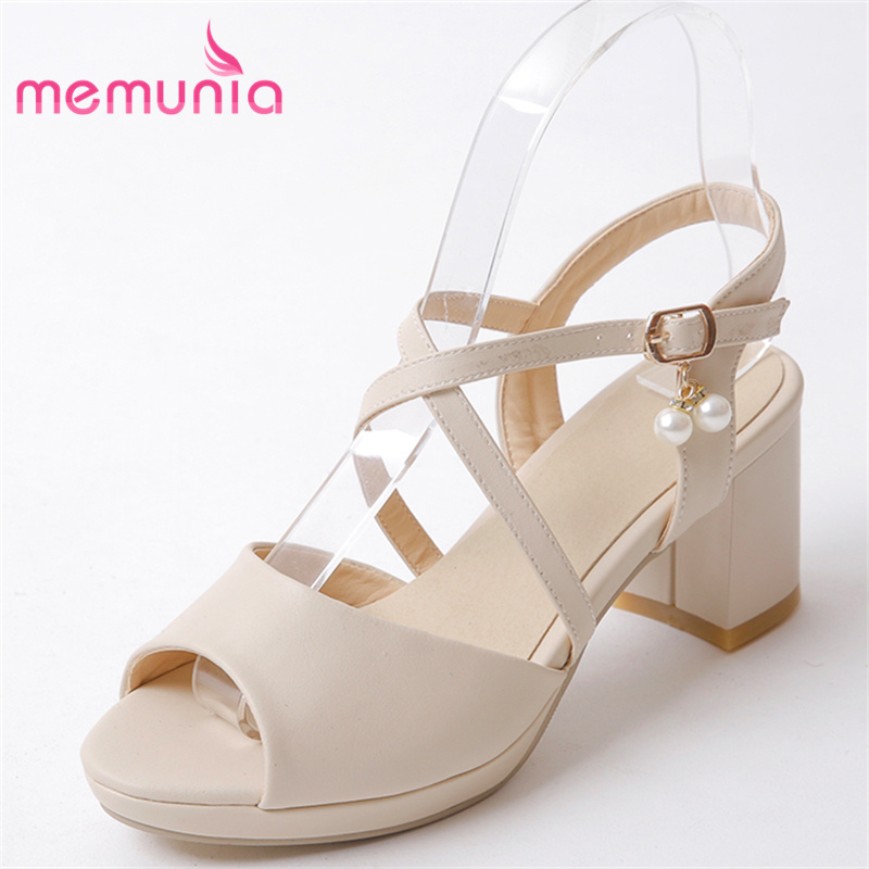 MEMUNIA 2018 high heels sandals women hot sale new arrive square heels buckle beading summer shoes fashion party shoes memunia 2017 fashion new arrive women high heels sandals classic peep toe buckle summer shoes solid street style big size 34 43