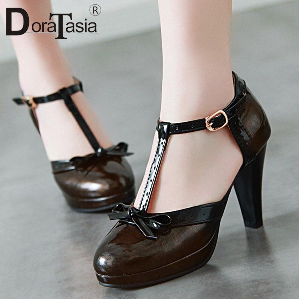 DORATASIA Platform Pumps High-Heels Butterfly T-Strap Round-Toe Plus-Size Women's Summer