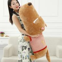 60cm 80cm Giant Classic Striped Prone Lie Dog Pillow Plush Toy Birthday Big Head Doll Sleeping