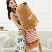 60cm/ 80cm Giant Classic Striped Prone Lie Dog Pillow Plush Toy Birthday Big Head Doll Sleeping Valentines Gift