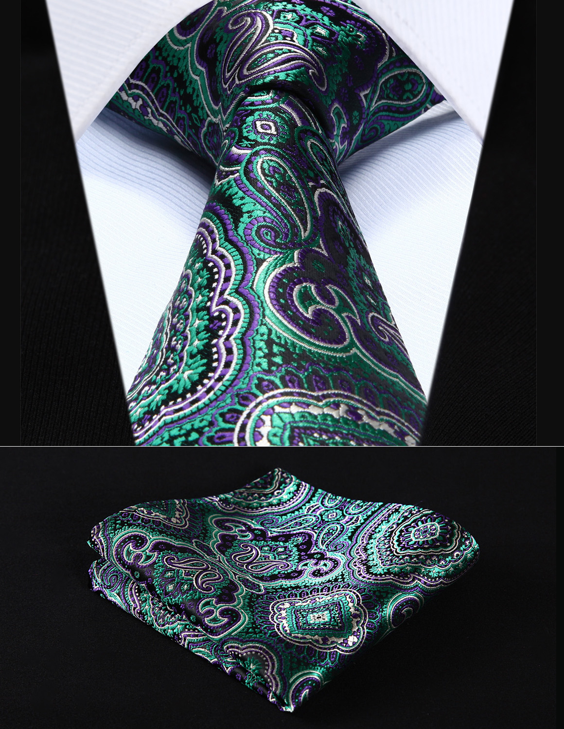 Party Wedding Classic Pocket Square Tie TP707P8S Purple Green Paisley 3.4
