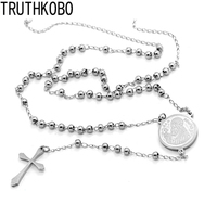 2017 New Men Gift Silver Rosary Corss Necklace Gift Long Jewelry Print San Benito