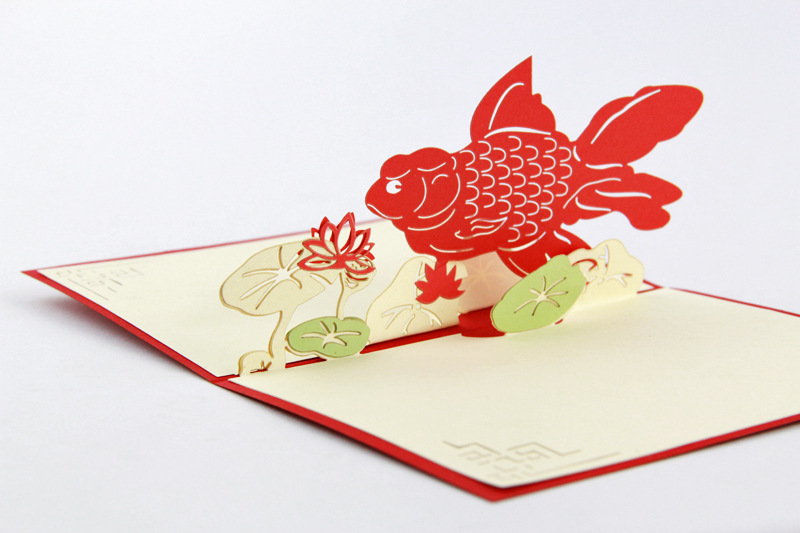 Every year there are three dimensional greeting cards blessings fish every year there are three dimensional greeting cards blessings fish 3d new year holiday gift ideas customized handmade cards in business cards from office m4hsunfo