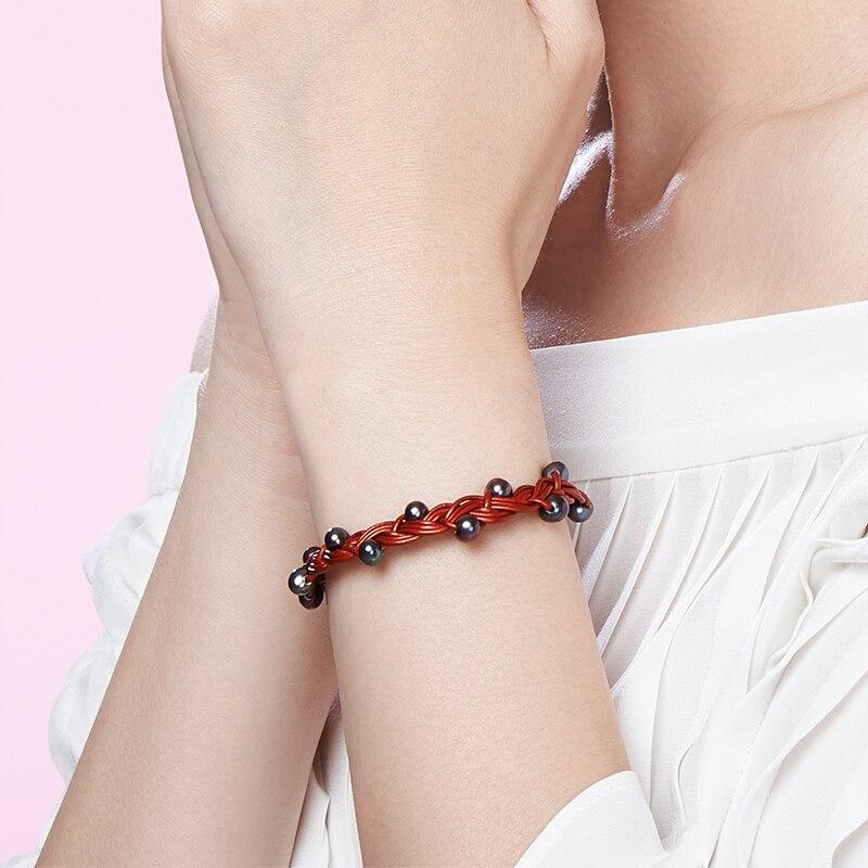 GNpearl noir perle Bracelet bijoux perle d'eau douce naturelle haute qualité tressé corde perle bracelets pour femme cadeau