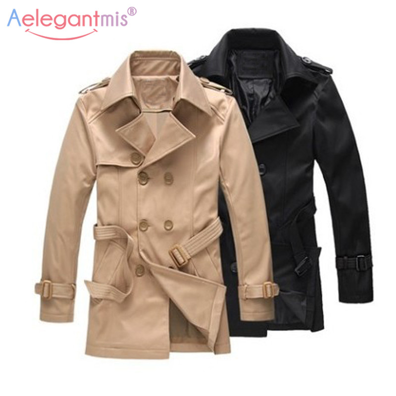 Trench-Coat Aelegantmis Men Autumn Long Mens Male Winter Double-Breasted Casual Slim