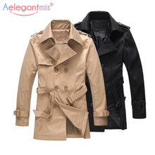 Aelegantmis Men Trench Coat  2019 Brand New Casual Slim Long Trench Co