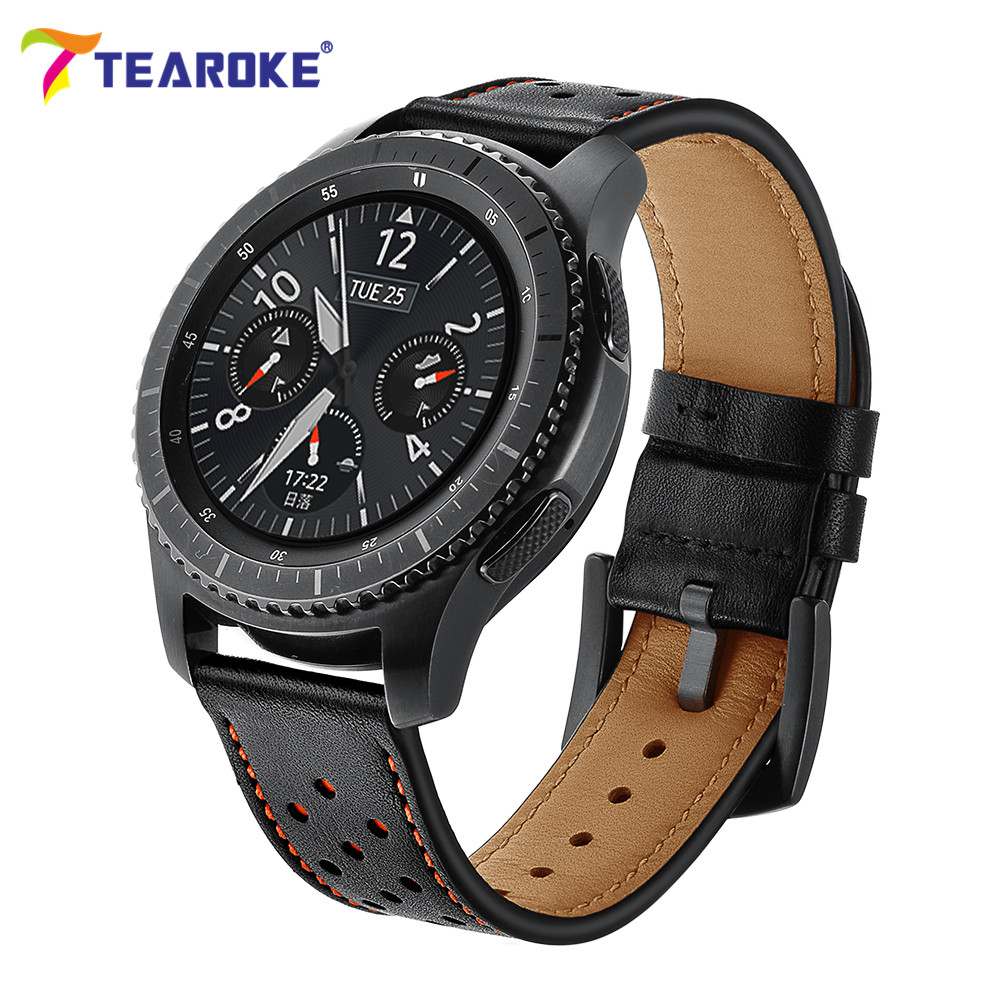 Galleria fotografica Genuine Leather Watchband for Samsung Gear S3 Classic Frontier 22mm Orange Hole Style Replacement Bracelet Strap Watch Band