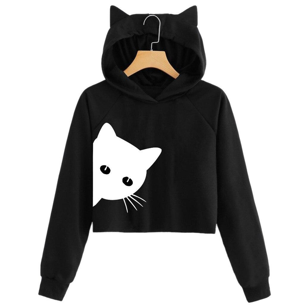 b84836ee936b1f hoodies women cropped hoodie Cat Print Long Sleeve Hoodie Sweatshirt Hooded  Pullover Tops kawaii korea fashion