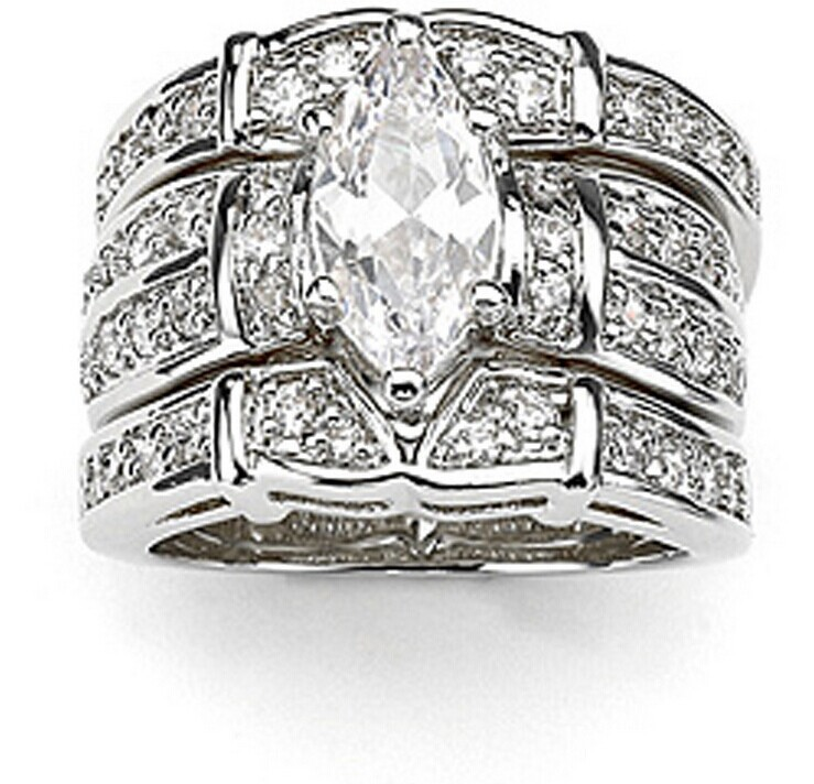Victoria Wieck Marquise Cut Topaz Simulated Diamond 14KT White Gold GF  Wedding Band Ring Set Sz