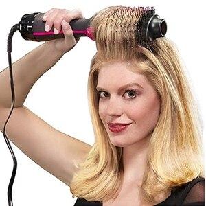 Image 1 - 1000 Вт профессиональный волос фен щетка 2 в 1 выпрямитель для волос щетка для завивки волос электрический фен с Расческа Щетка для волос ролик стайлер фен для волос фен щетка