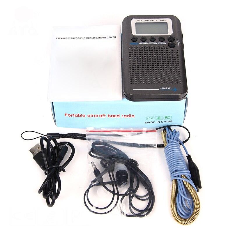 Pleine Bande Radio Numérique Démodulateur FM/AM/SW/CB/Air/VHF Monde Bande Stéréo Radio portable avec écran lcd réveil