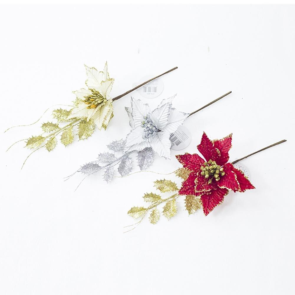 Искусственные цветы в рождественском стиле орнамент Рождественская елка Золотая пудра моделирование листья Рождественская ткань искусственный цветок украшения