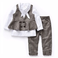 Spring Autumn New Style 1 8year Girls Suit Girl Shirt Plaid Vest Trousers Three Piece Suit