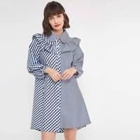 New Women's Striped Stitching Lapel Irregular Side Women Dress Gothic Long Sleeve Dress Clothes Vestidos Verano 2018 Plus Size