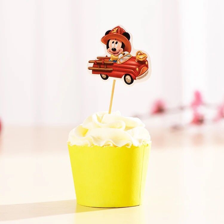 5 pcs Mickey Minne Cupcake Cake Toppers Cartoon Cupcake Inserts Card ...