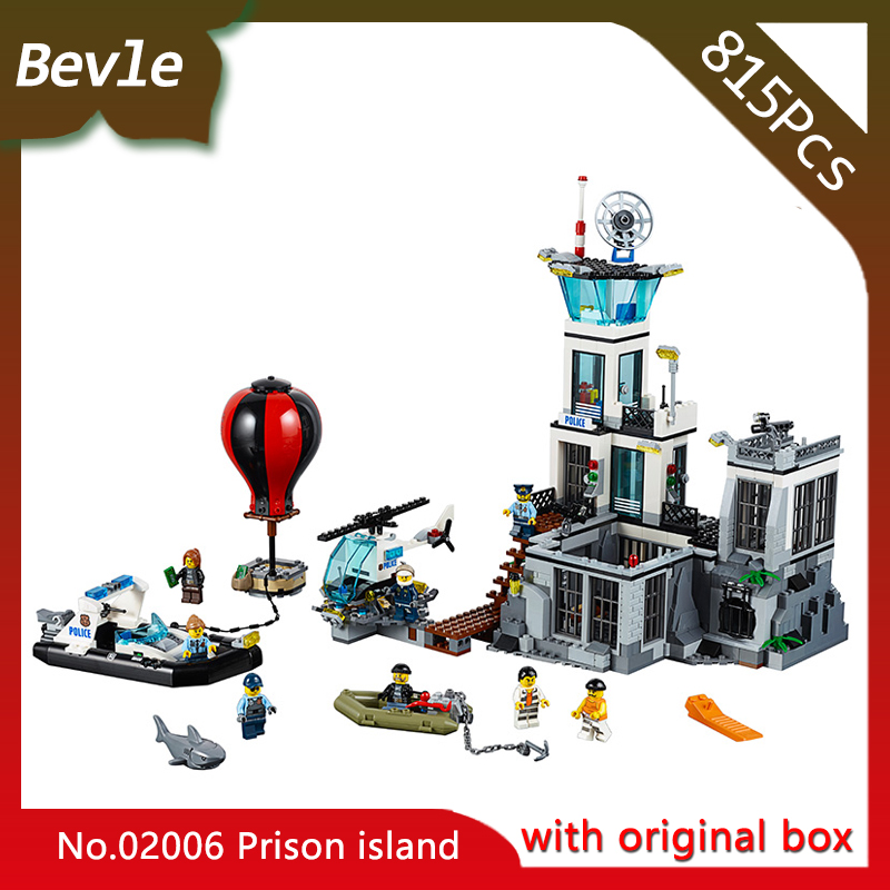 Original box Bevle Store LEPIN 02006 815Pcs CITY Series Sea Island Prison Building Bricks Blocks Children Toys Gift 60130  lis lepin 02006 815pcs city series prison island set children educational building blocks bricks boy toys with 60130