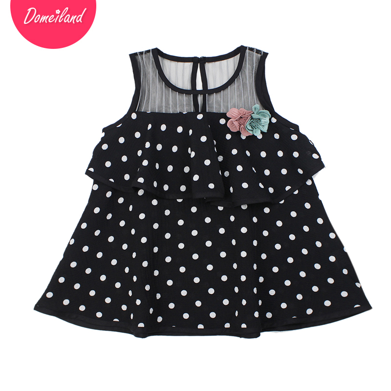 2017 summer brand domeiland children clothing Floral kids girls cute sleeveless Dot party princes ruffle mini dress clothes new girls dress brand summer clothes ice cream print costumes sleeveless kids clothing cute children vest dress princess dress