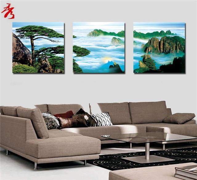 3 Pcs Pinheiro Montanha Nuvem Pintura Retrato Da Arte Da Parede Da Lona Home  Decor Sala