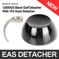 1Pc 12000GS Universal Strong Magnet Golf EAS Detacher Hard Tag Remover Black With 1Pc Tag Hook Detacher