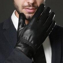 Мужские Кожаные Перчатки Толстые Теплые Зимние Черные Классические Кожаные Перчатки Водонепроницаемый Нескользящей Овец Натуральная Кожа Варежки