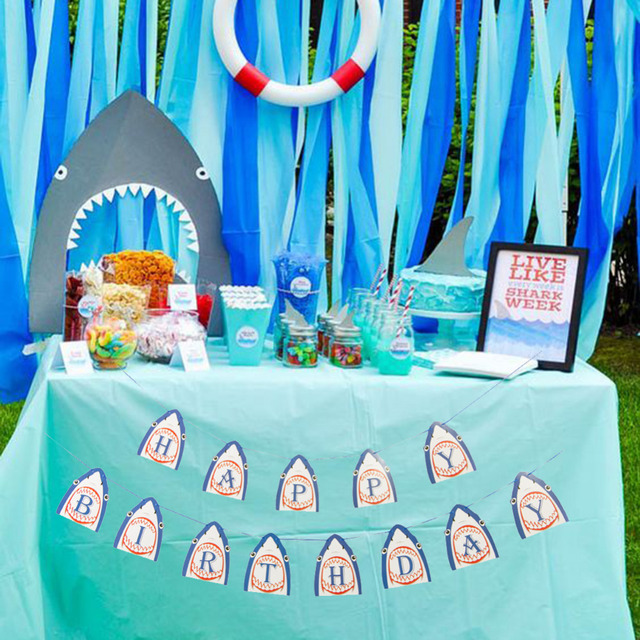 Shark Party Happy Birthday Banner Hanging Decorations Baby Boy Shower Kids Favor Pool