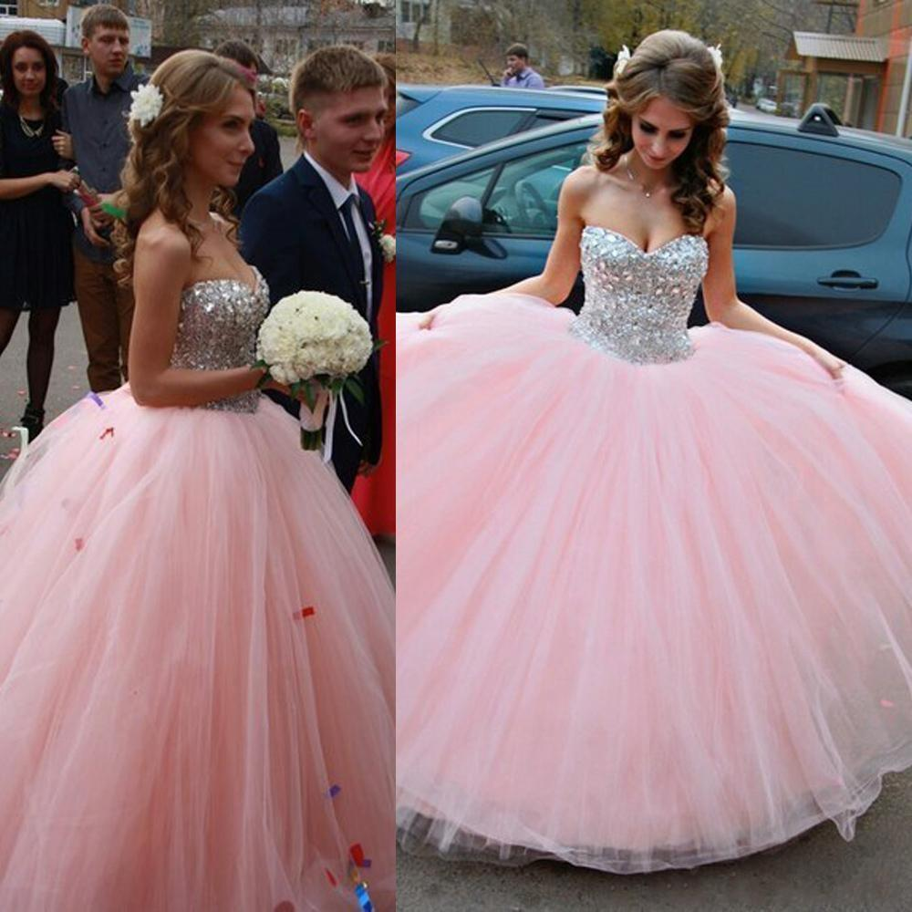 2016 New Blush Pink Quinceanera font b Dress b font Backless Beaded Crystals Sweet 15 16