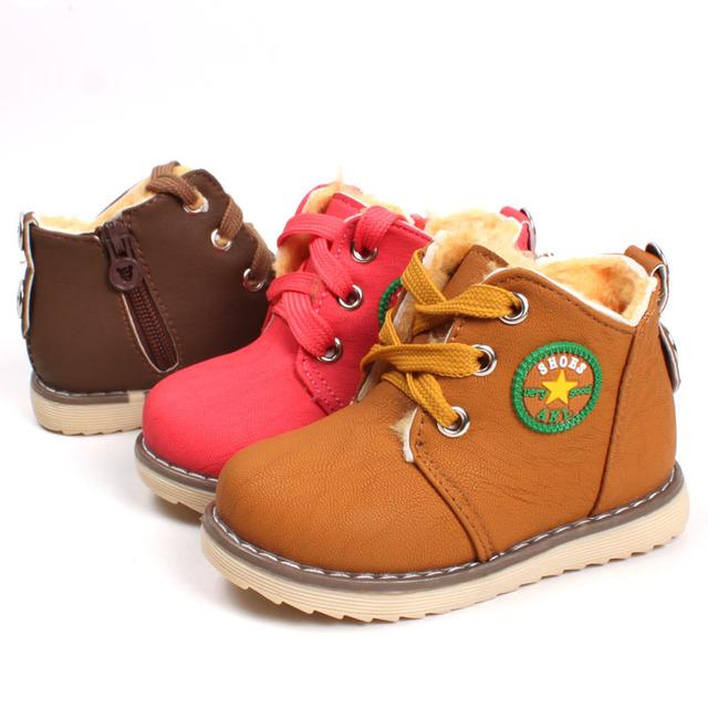 Venta caliente 2017 nuevos niños de la manera algodón shoes martin botas otoño invierno niños niñas mantienen cálidas botas