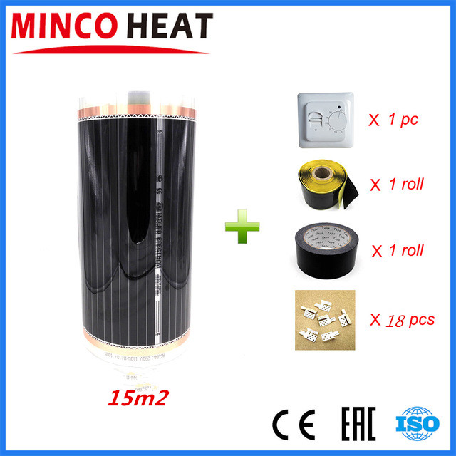 High Quality 15m2 Energy Efficient Floor Heating Film kit 220W m2 Infrared Warm Floors Electric Heating