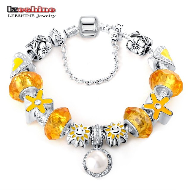 LZESHINE Fashion Yellow Color Bracelets & Bangles with White Pearl Ball Antique Silver Charm Bracelet Wedding Jewelry PCBR0249