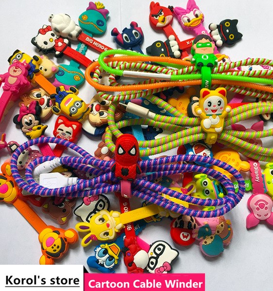 10pcs/lot Hot Sale Cartoon Hero Headphone Earphone Cable Wire Organizer Cord Holder USB Charger Cable Winder For iphone samsung