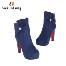 Women High Heel Platform Ankle Boots Women's Winter Boots Suede Fur Boots Martin zip Big Lady Red Shoes Size 34-43 High Quality
