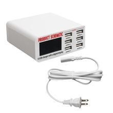 6A 6 USB 2.0 USB 3.0 Puerto USB Cargador Rápido rápido Cargador de Pared HUB de Carga Pantalla LCD Adaptador de Enchufe de LA UE # H029 #