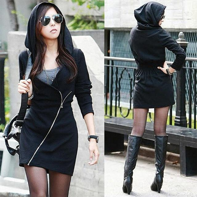 Sexy Winter Autumn Hooded Dresses Women Casual Sexy Hooded Black Dress  Vestidos SV005850 A10 e1428ad633