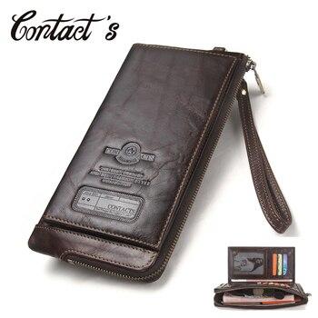 Мужской кошелек, клатч из натуральной кожи, бренд Rfid, органайзер, чехол-клатч для сотового телефона, Длинный кошелек для монет, Бесплатная гр...