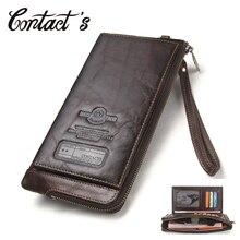 2020 hommes portefeuille pochette en cuir véritable marque Rfid portefeuille mâle organisateur téléphone portable pochette longue porte monnaie gratuit graver