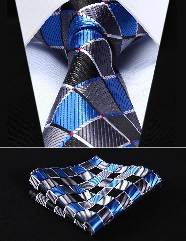 "TC807B8S Blue Gray Check 3.4"" Silk Woven Men Tie Necktie Handkerchief Set Party Wedding Classic Pocket Square Tie"