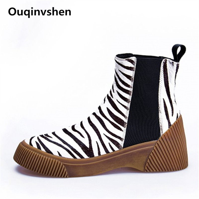 Ouqinvshen Fashion Leopard Rubber Boots Round Toe Platform Classic Casual Martens Boots Hair Leopard Autumn Winter Boots 2018