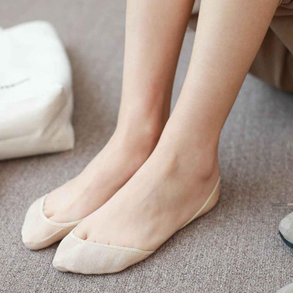 Feminino cor sólida meias de salto alto invisível moda feminina estilingue toe cover topper sem mostrar meias