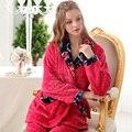 Longo-luva das mulheres Além de Veludo Espessamento Coral Fleece Flanela Sleepwear Conjunto Salão