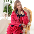 Women's Long-sleeve Plus Velvet Thickening Coral Fleece Flannel Sleepwear Lounge Set