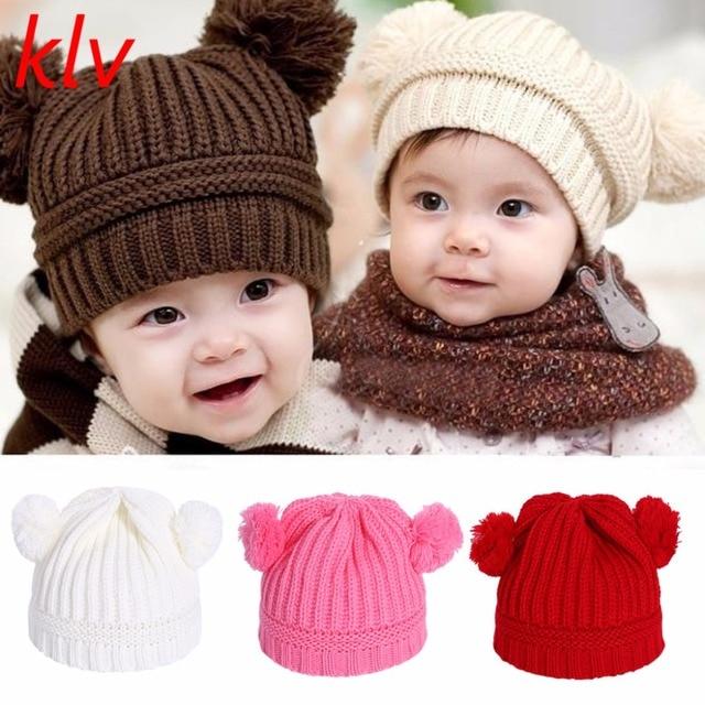 735721f4e58 KLV Newborn Baby Girls Boys Winter Crochet Beanie Cap With Two Faux Fur Pom  Pom Hat