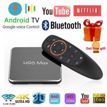 H96 max x2 Android 8.1 TV BOX Amlogic S905X2 4 GB 64 GB 2.4 GHz e 5.8 GHz Wifi Bluetooth 4 K 3D Set top box Con Controllo Vocale di Google