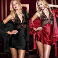 Sexy Women Lace Silk Robe Lingerie Dress Ladies Nightgown Bathrobe Sleepwear 2PC