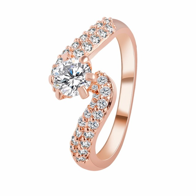 2016 new fashion design silver gold plated zircon crystal wedding rings white crystal jewelry gift for - Horseshoe Wedding Rings