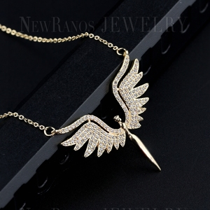 Image 3 - Newranos Angel Wing Charm Necklace Micro Paved Cubic Zirconias Pendant Necklace Champagne Gold Color for Women Jewelry NFX001402